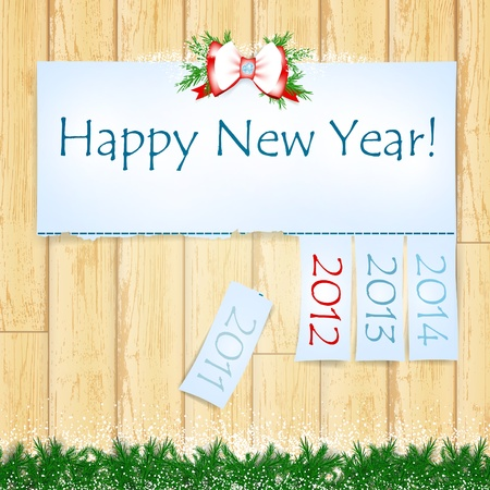 Happy New Year message with years from 2011 to 2014 over wooden background Stock Vector - 10572414