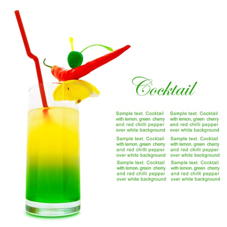 multicolored coctail with chilli pepper, lemon and cherry against white background  photo