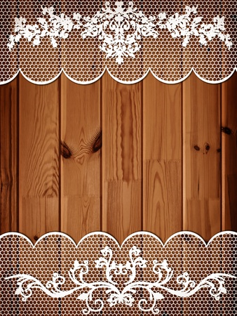 floorboard: wooden background with white lace frame