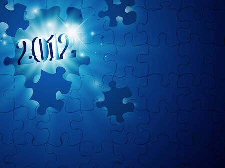 illustration of new year 2012 in the puzzle Vector