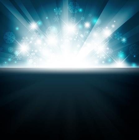 Wintervakantie heldere explosie met sterren en sneeuwvlokken