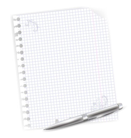 ballpoint: illustration of notebook sheet with drawing and metal ballpoint pen