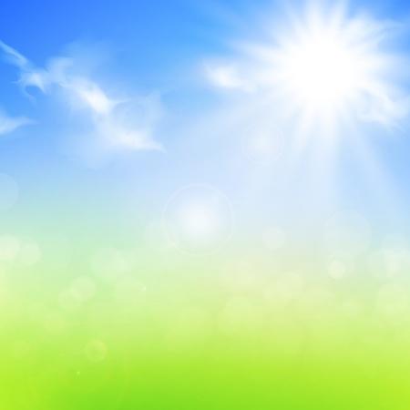 Sommer oder Frühjahr Hintergrund mit blauem Himmel und Sonne
