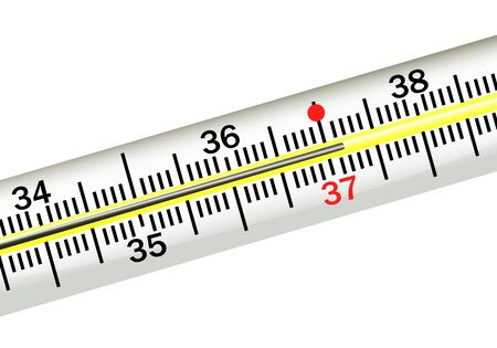 high temperature: illustration of the thermometer point with high temperature  Illustration