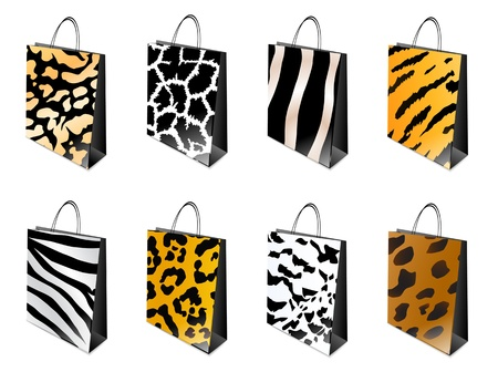 print shop: Different animal print Shopping bag set over white Illustration
