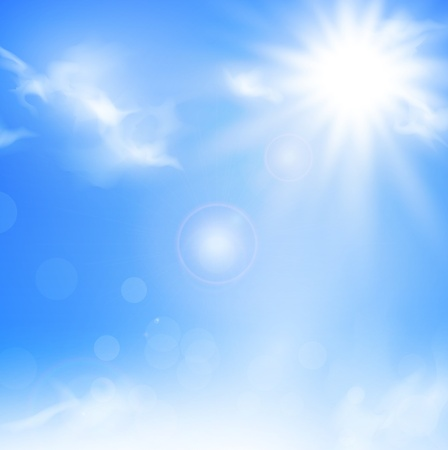 Ilustración del fondo de la naturaleza con el cielo azul y el sol