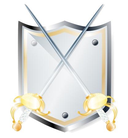 espadas medievales: Ilustraci�n de la �poca dos espadas y un escudo sobre fondo blanco