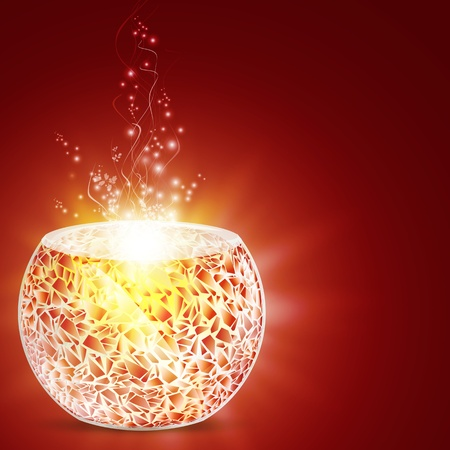 light burst: illustration of holiday magic mosaic candle holder over shining background