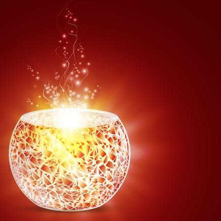 Illustration von Urlaub Magie Mosaik Kerzenständer über glänzende Hintergrund
