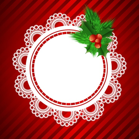 handiwork: lace round frame with christmas decoration at red background