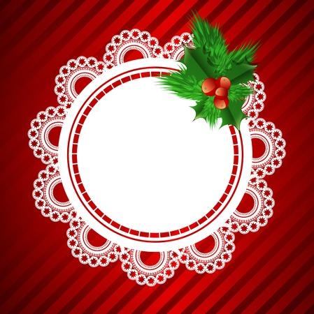 lavoro manuale: pizzo cornice rotonda con decorazioni natalizie a sfondo rosso