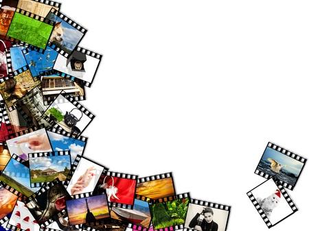 a lot of color photographic films over white Archivio Fotografico