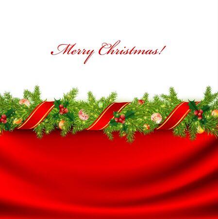 slingers: Kerstmis frame met groene spar en vakantie decoratie