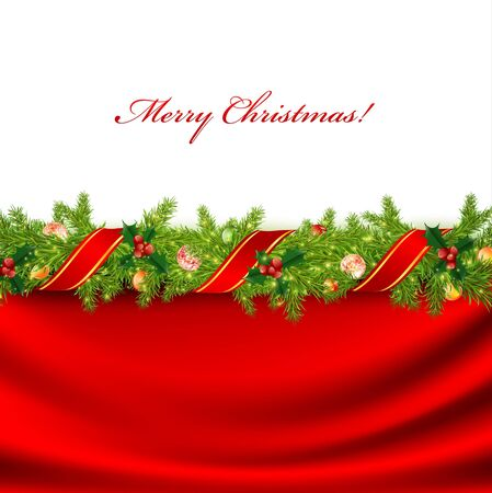 christmas berries: Natale con telaio verde abete e decorazione vacanza Vettoriali