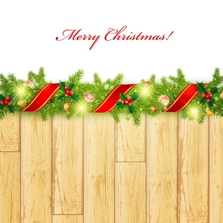 Christmas frame with green fir and holiday decoration Vector