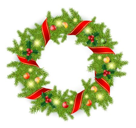 Christmas wreath with red bow and bright decoration over white Illustration