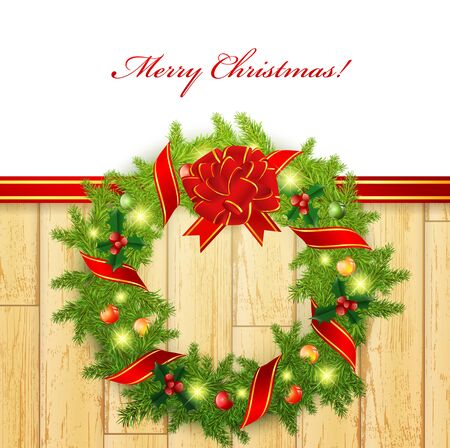 Christmas wreath with bright decoration at wooden border, copy space Vector