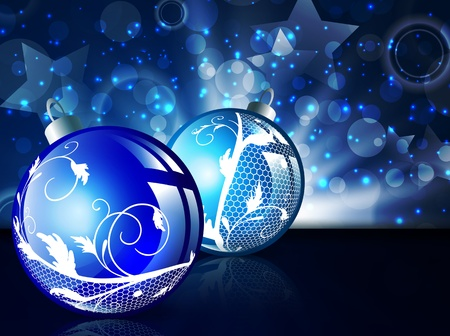 New year blue decorated balls over bright background with stars and lights  Vector