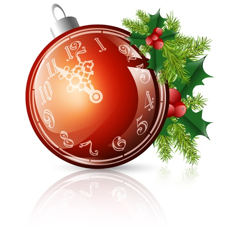 alarmclock: New year red ball with clock and christmas decorations over white background