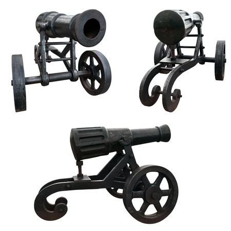 Three views of old cannon over the white background photo