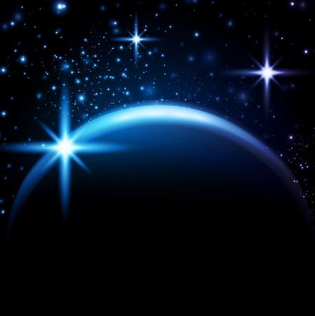 orbital: space in night with stars, gradient mesh