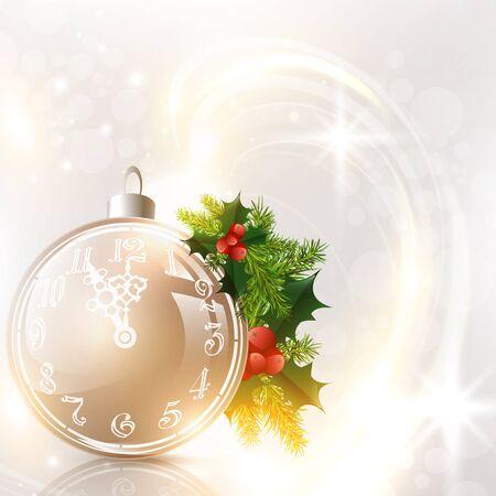 pinetree: Resumen de fondo de vacaciones de Navidad decorado con bolas y pino-