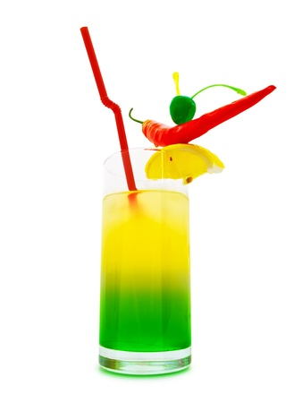 coctail: multicolored cocktail with chilli pepper, lemon and cherry against white background