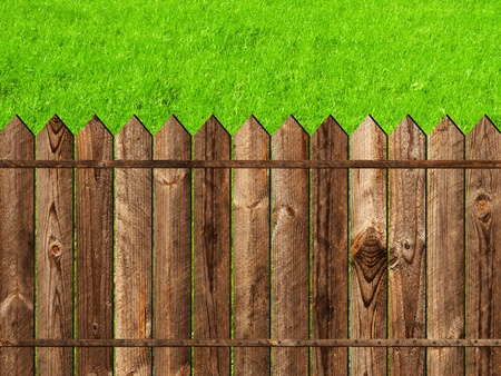 slats: wooden fence against the green grass