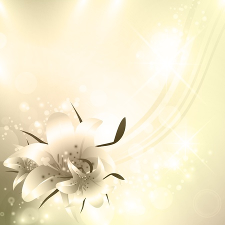 lilium: Golden Floral holiday background with stars and copyspace Illustration