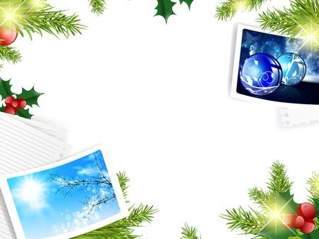 christmas photo frame: Christmas template with green fir and seasonal photos
