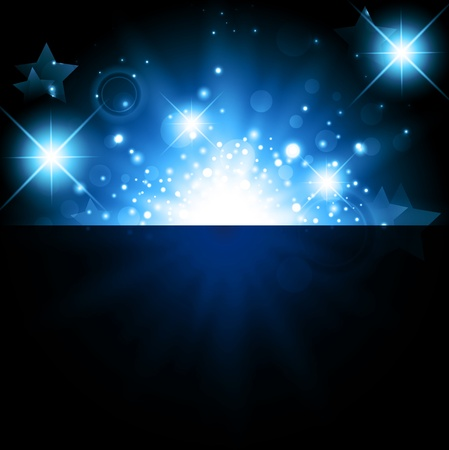 glimmer: bright night background with stars and lights  Illustration