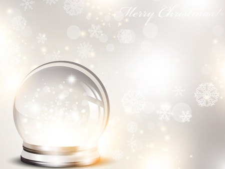 Christmas and New year holiday background with glass ball and snow over blue  Vector