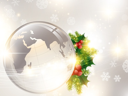 Christmas holiday background with world globe and pine tree decoration Stock Vector - 11376733