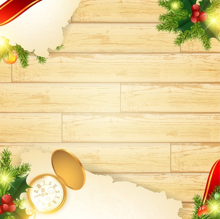 Vintage wooden background with old pocket watch and Christmas decoration, copyspace Vector