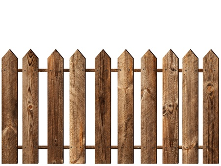 fence panel: wooden fence over the white background