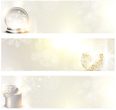 Christmas banner set with holiday elements and copyspace Vector