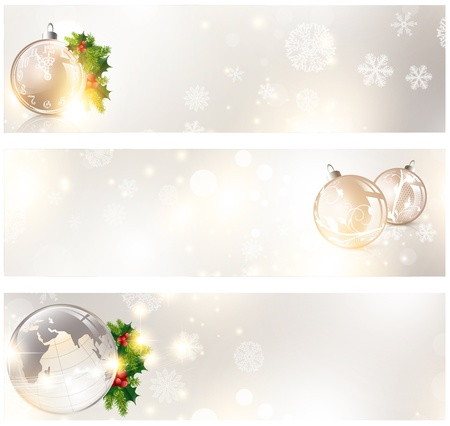 Christmas banner set with holiday elements and copyspace Vettoriali