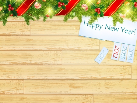 New year wooden background with green fir and holiday message Vector