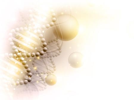 텍스트 DNA 테마와 copyspace 과학 황금 배경
