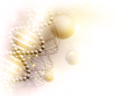 scienza sfondo dorato con il tema del DNA e copyspace per il testo