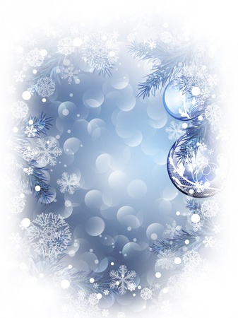 newyear card: Christmas and New Year background with snowflakes and decoration