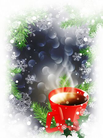 cold coffee: Christmas and New Year background with snowflakes and cup of hot tea