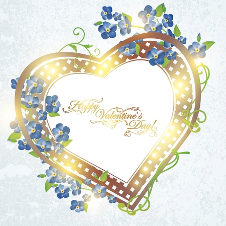 Valentine`s Day heart shaped vintage frame with forget-me-not flowers Stock Vector - 11622269