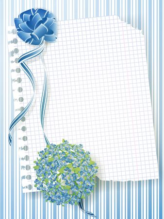 me: illustration of notebook sheet with forget-me-not bouquet and ribbon bow