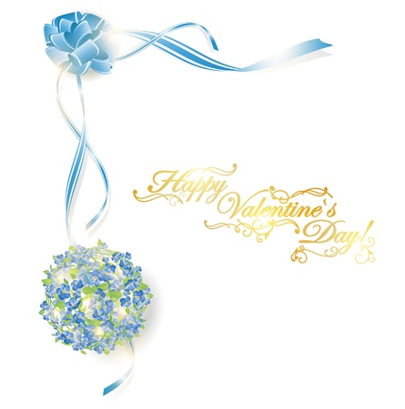 forget me not: illustration of holiday frame with forget-me-not bouquet and ribbon bow, copyspace for your text