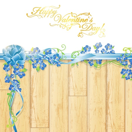 Holiday frame with forget-me-not flowers and holiday decoration at wooden background, copyspace for your text Vector
