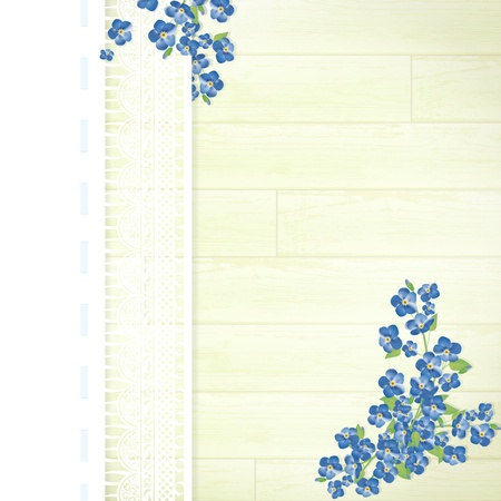 Holiday wooden background with lace frame and forget-me-not flowers
