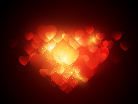 Abstract Valentine background with light and hearts