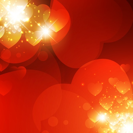 Abstract Valentine background with light and hearts Vector