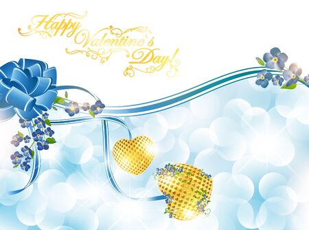 golden heart: Abstract Valentine`s day frame with forget-me-not flowers and golden hearts, copyspace for your text